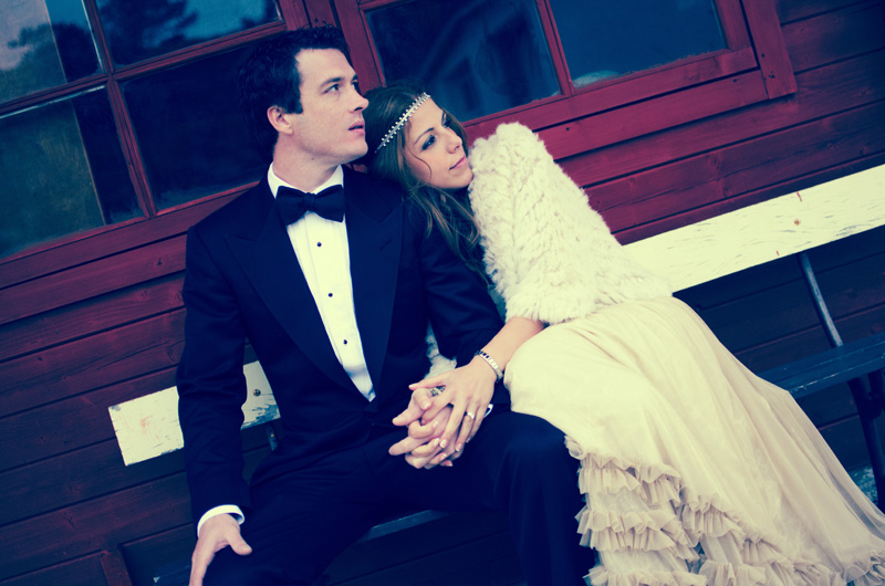 boho bride, 70's inspired bride, hippy bride, tuxedo groom