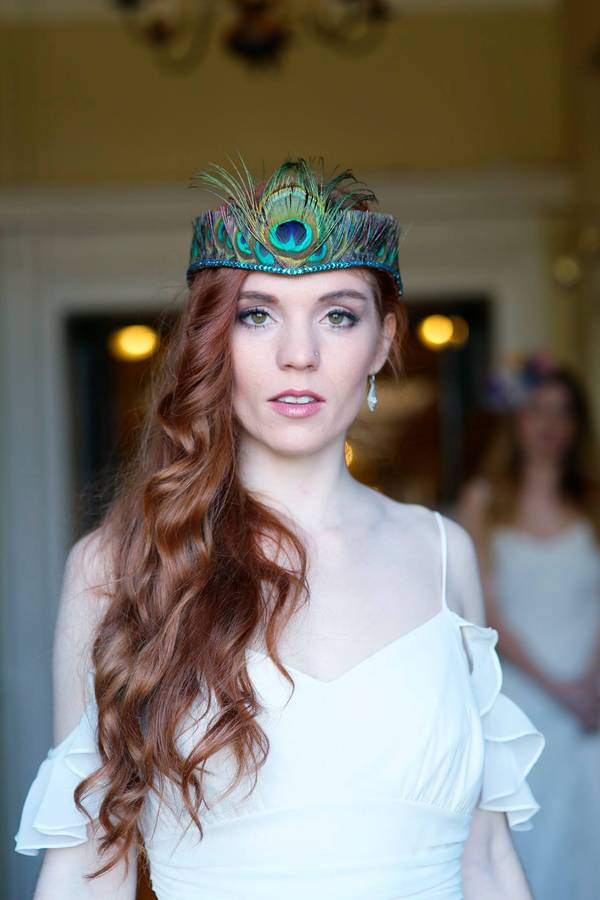 peacock-feather-tiara-with-crystal-edge, holly young millinery, peacock inspired wedding, NOTHS