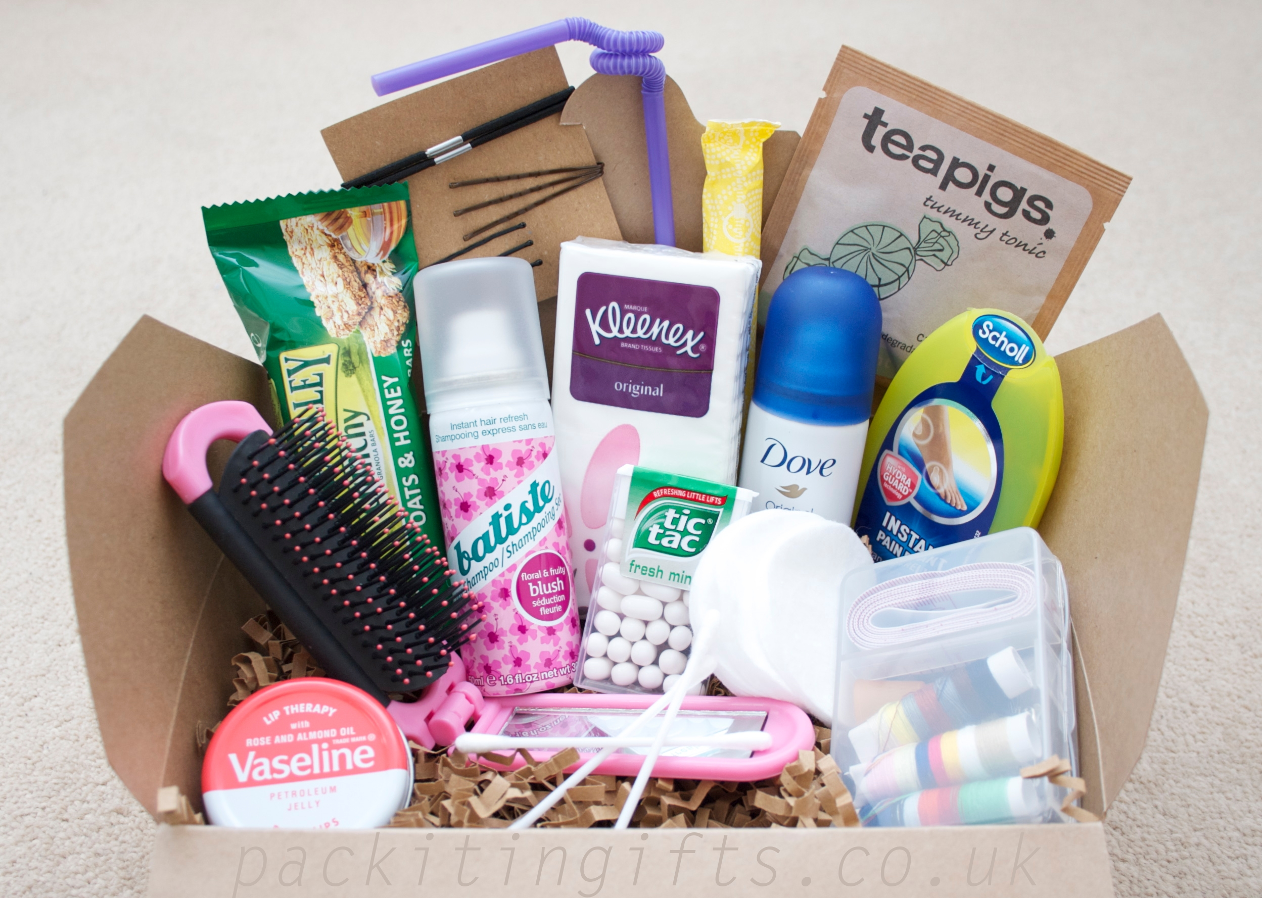 Pack it in a gift hamper in a box for Bathroom basket ideas for wedding