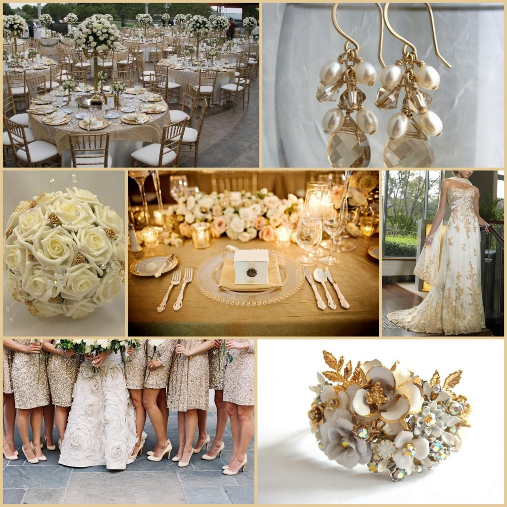 white and gold mood board