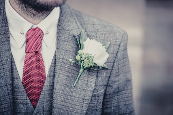 Winter wedding,  Vintage wedding, DIY Wedding,  tweed suit, grooms buttonhole, mark pugh photography