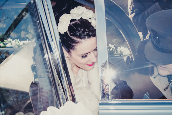 Winter wedding,  Vintage wedding, bride exiting wedding car, mark pugh photography