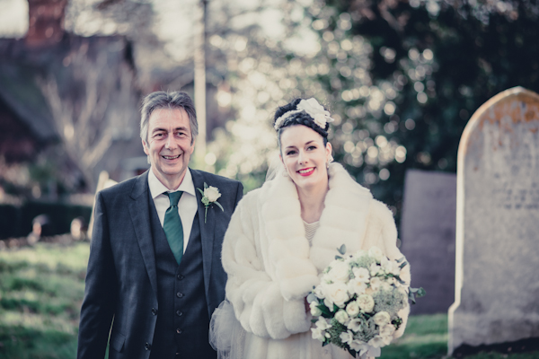 Winter wedding,  Vintage wedding, bride and father of the bride walking to church,  1940's Wedding Dress, mark pugh photography