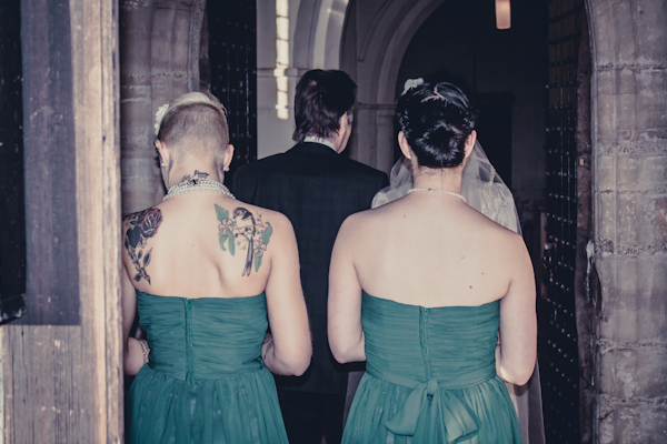 Winter wedding,  Vintage wedding, tattoed bridesmaid, bridesmaid green dress, bridesmaids entering the church,   1940's Wedding Dress, mark pugh photography