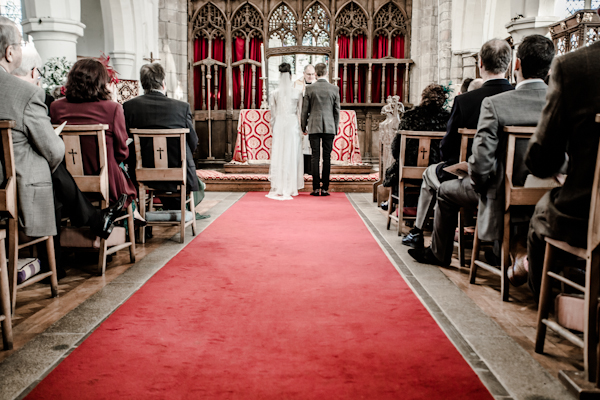 Winter wedding,  Vintage wedding, bride and groom at church altar,  1940's Wedding Dress, mark pugh photography