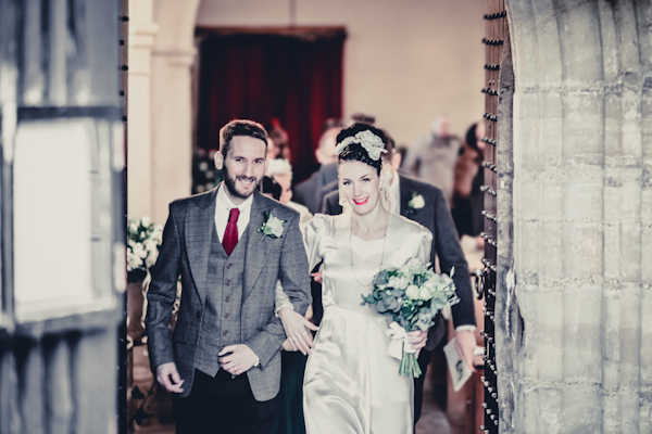 Winter wedding,  Vintage wedding, bride and groom leaving church,  1940's Wedding Dress, mark pugh photography