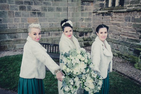 Winter wedding,  Vintage wedding, bride and bridesmaids, bridal bouquet,  1940's Wedding Dress, mark pugh photography