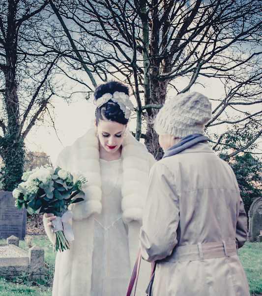 Winter wedding,  Vintage wedding, bride and brides nan,  1940's Wedding Dress, mark pugh photography