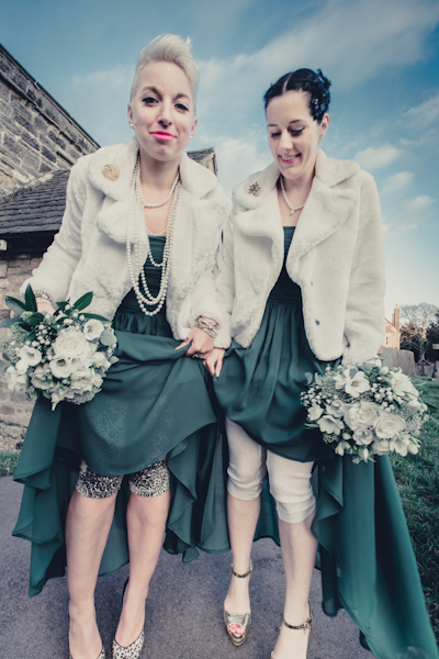 Winter wedding,  Vintage wedding, bridesmaid leggings, bridesmaid thermals, mark pugh photography