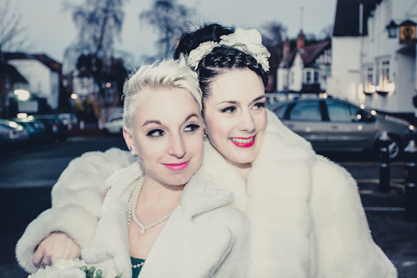 Winter wedding,  Vintage wedding, bride and bridesmaid,  1940's Wedding Dress, mark pugh photography
