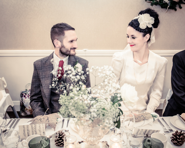 Winter wedding,  Vintage wedding, reception room, donington manor,  bride and groom at reception, mark pugh photography