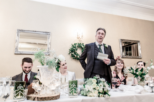 Winter wedding,  Vintage wedding, reception room, donington manor, father of the bride speech, mark pugh photography