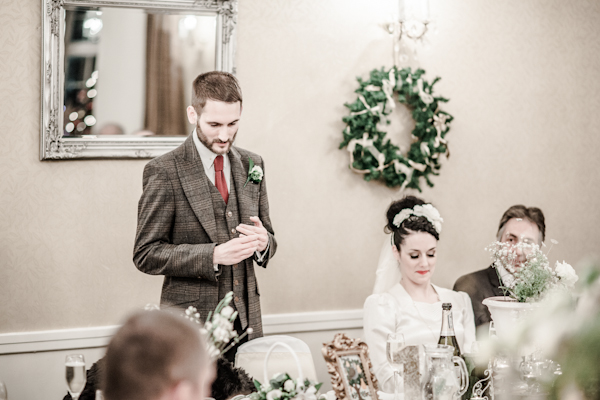 Winter wedding,  Vintage wedding, reception room, donington manor, groom speech, mark pugh photography