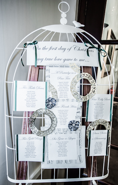 Winter wedding,  Vintage wedding, birdcage table plan, donington manor, mark pugh photography