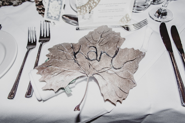 Winter wedding,  Vintage wedding, reception room, donington manor, DIY leaf place settings, mark pugh photography