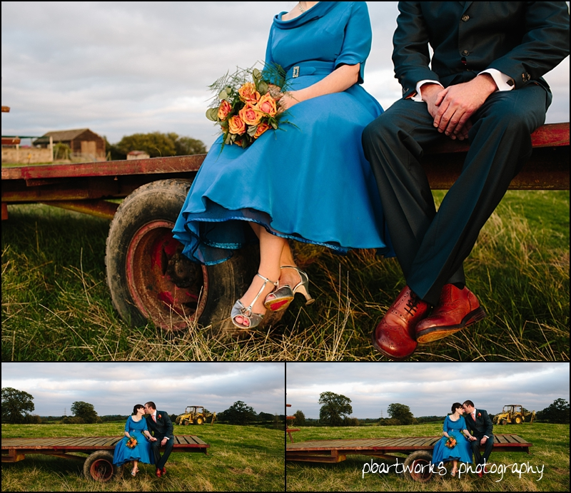 Blue  wedding dress, Relaxed country Wedding, PB Artworks.