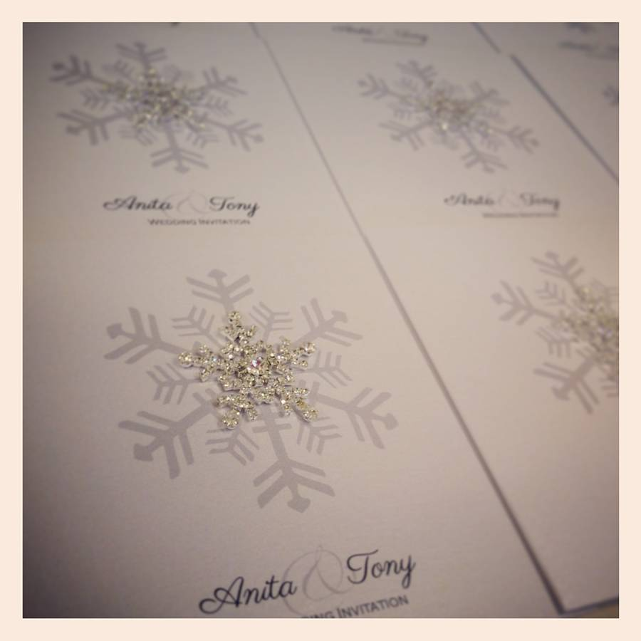 crystal snowflake wedding-invitation, made with love designs
