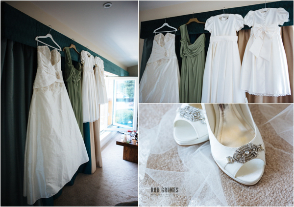 wedding dress, green bridesmaids dress, wedding shoes, rob grimes photography