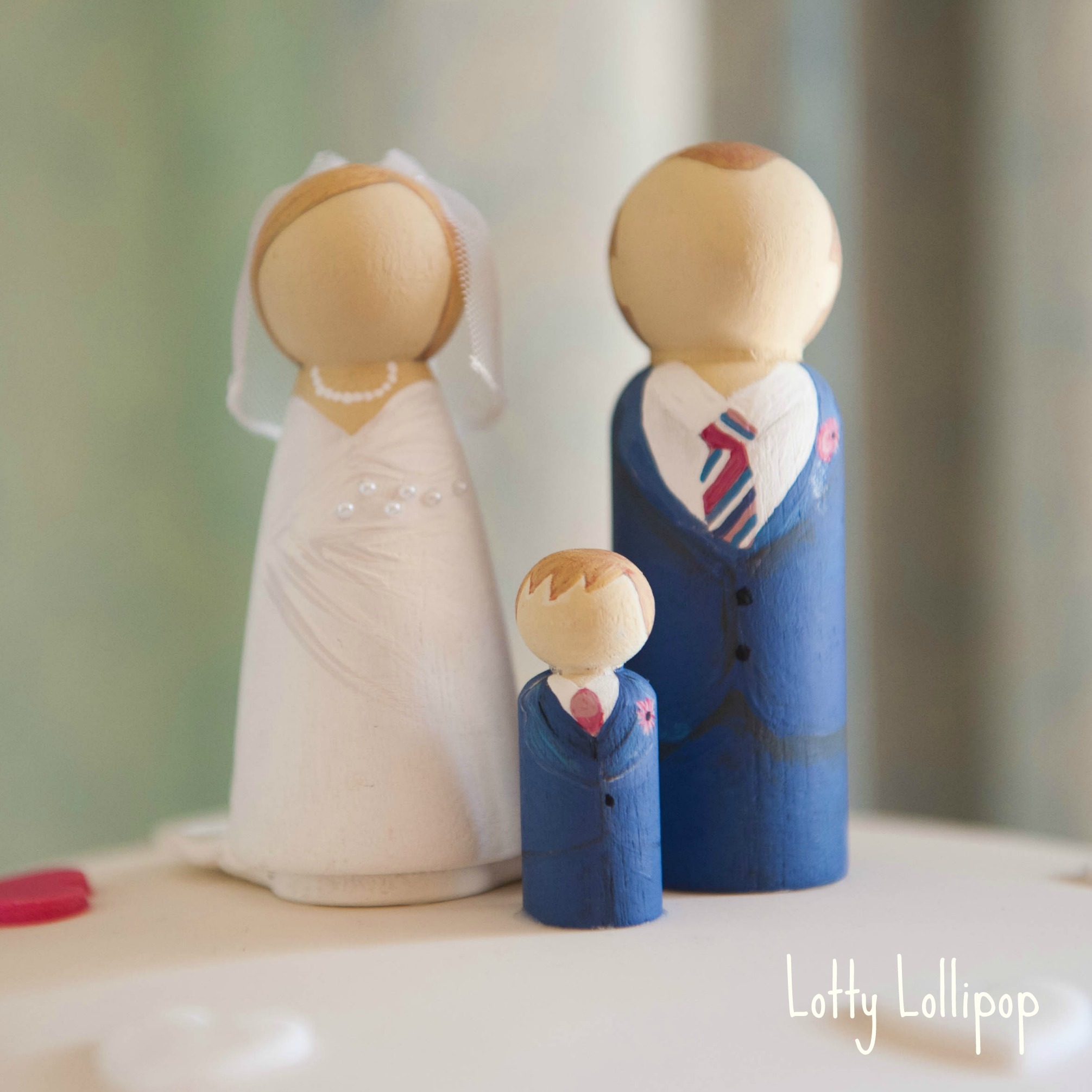 Bride And Groom Cake Topper Wedding Hand Painted