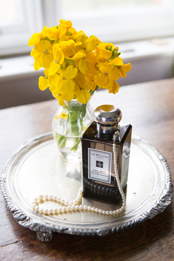 Hayley Ruth Photography, Sturmer Hall, yellow flowers, violets and velvet florist,  candle, jo malone fragrance, pearls