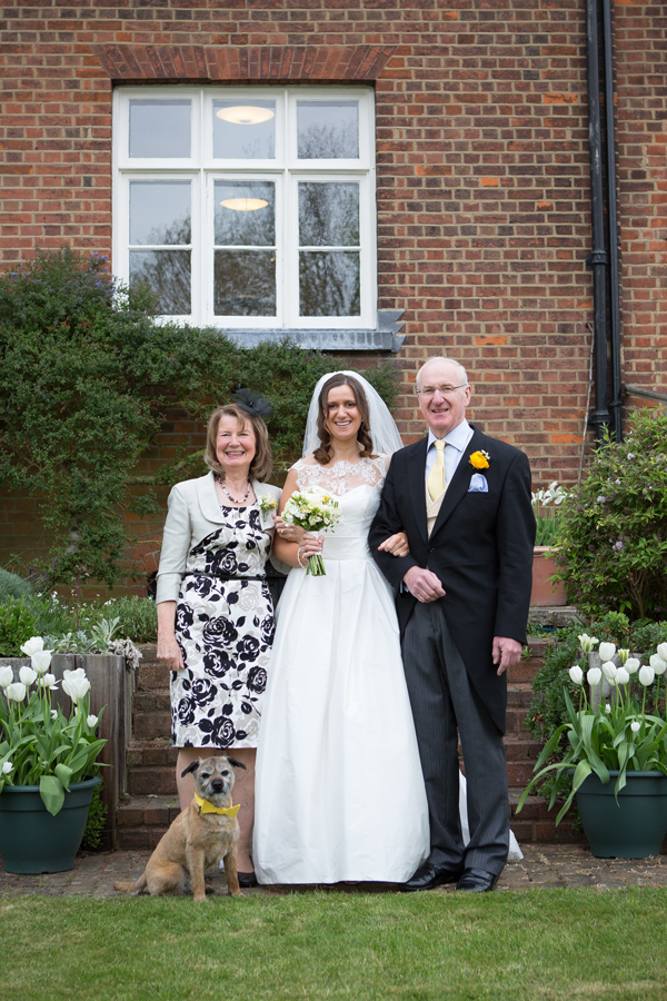Hayley Ruth Photography, Sturmer Hall, bride, brides parents, pup in yellow bow tie, stephanie allin dress