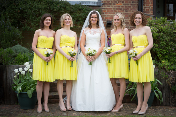 Hayley Ruth Photography ,Sturmer Hall, bride and bridesmaids, yellow bridesmaids dresses, stephanie allin bridal gown