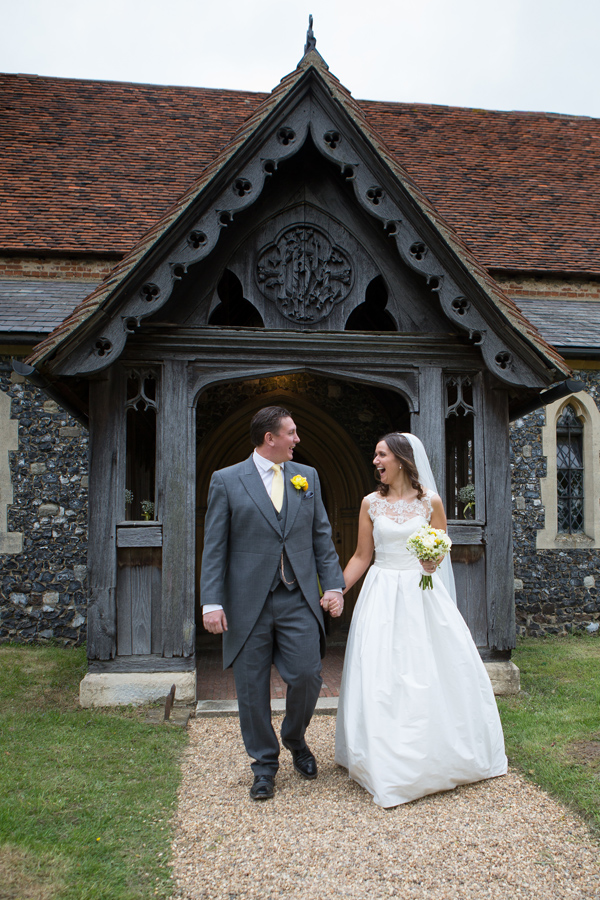 Hayley Ruth Photography, bride and groom, church, yellow buttonhole, stephanie allin dress