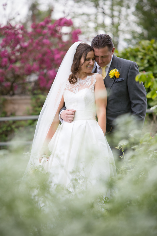 hayley ruth photography, stephanie allin dress, yellow buttonhole, bride and groom