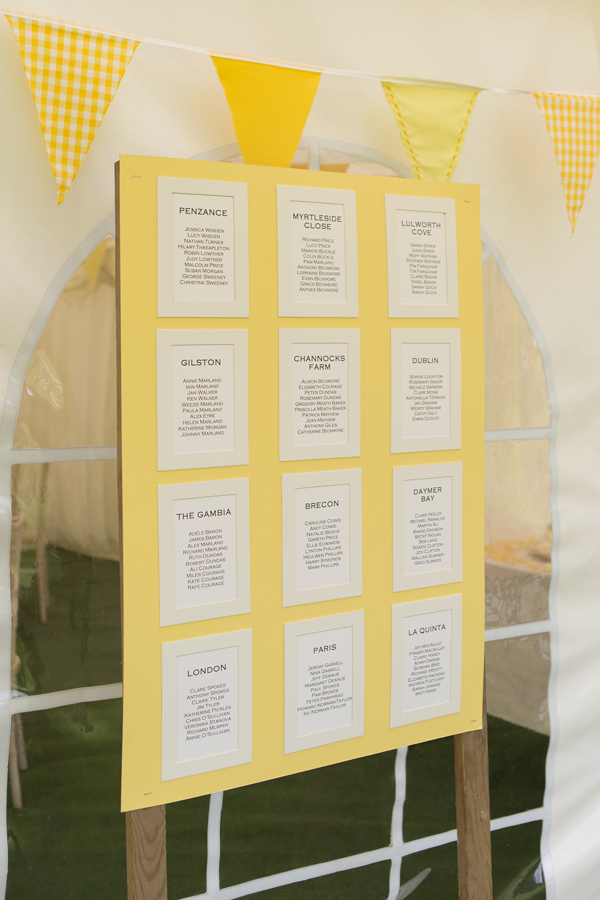 Hayley Ruth Photography , SturmerHall, yellow table plan, yellow bunting