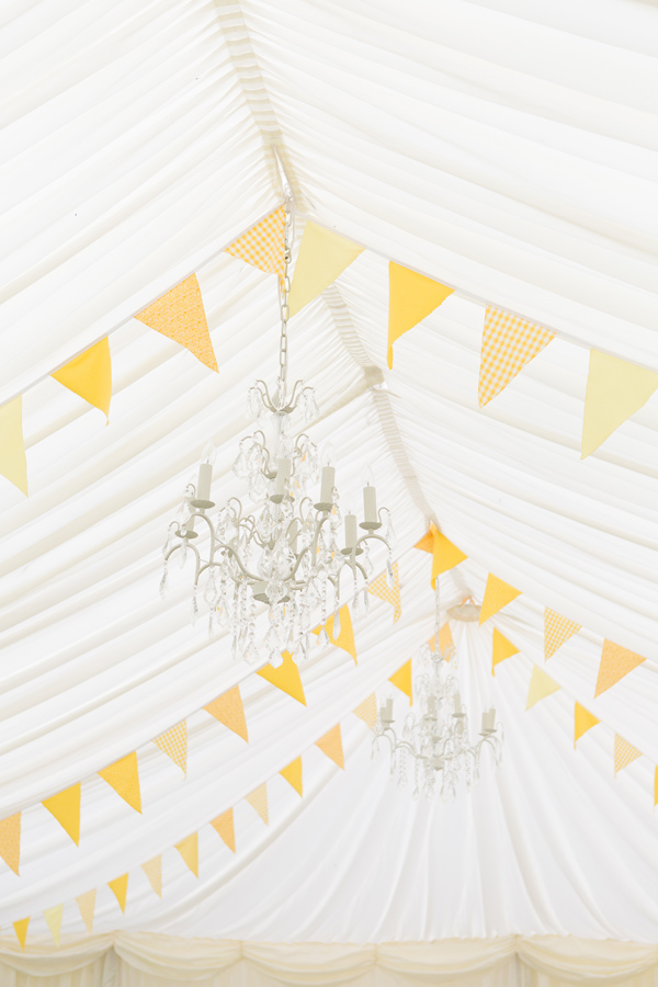 Hayley Ruth Photography , SturmerHall , marquee, yellow bunting