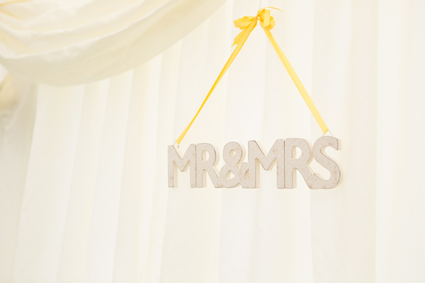 Hayley Ruth Photography ,  Sturmer Hall, mr and mrs sign and yellow ribbon