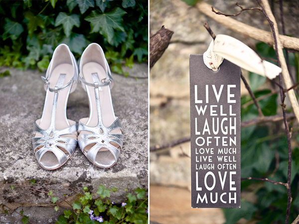 Karen Massey Photography, silver wedding shoes, live well sign