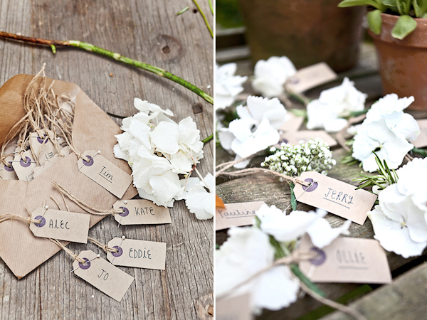 Karen Massey Photography, white flower buttonhole, name tags, wedding placecards