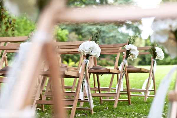 Karen Massey Photography, white peony chair ties, wedding ceremony chairs