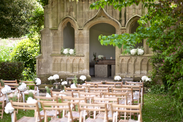 Karen Massey Photography, wedding ceremony location, barnsley house cotswolds, wedding chairs, white peony chair ties