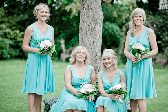 mark pugh photography, bridesmaids with white bouquets, bridesmaids gowns - Teatro in mint from Very