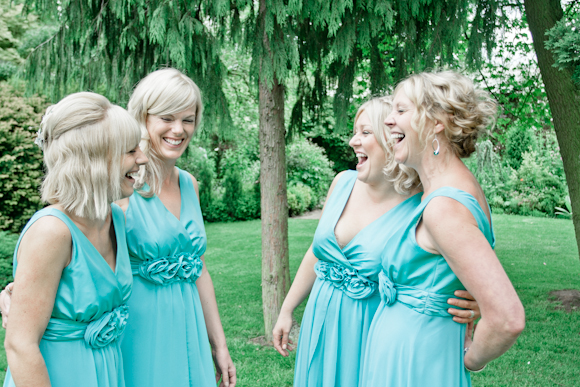 marm pugh photography, laughing bridesmaids, teatro bridesmaid dresses in Mint from Very