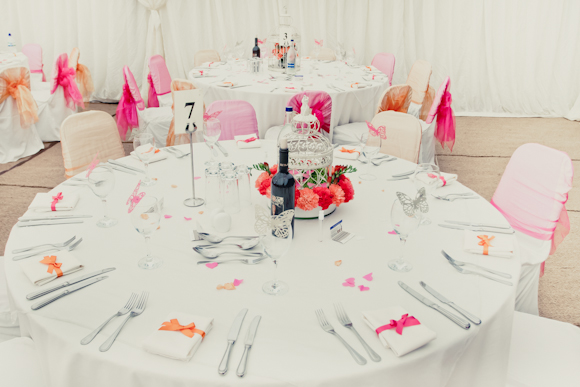 pink table detial, peach table details, colourpop wedding details, wedding table, peach and pink chair tiebacks, mark pugh photography