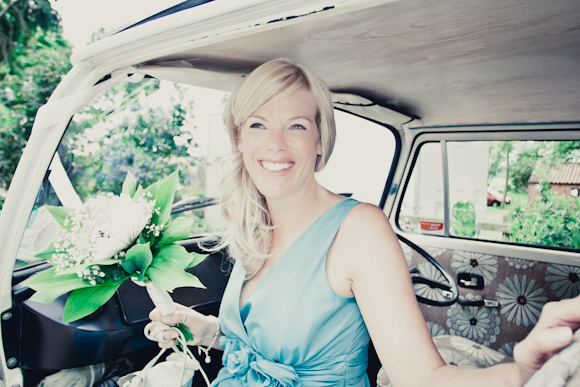 mark pugh photography, bridesmaid in VW campervan, white bouquet, teatro dress in mint from Very