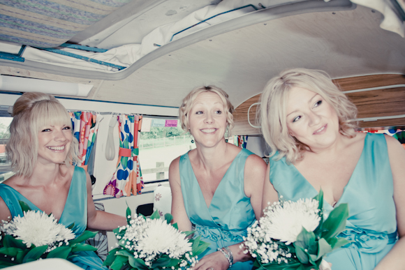 mark pugh photography, bridesmaids in VW campervan, white bouquets, teatro dress in mint from Very