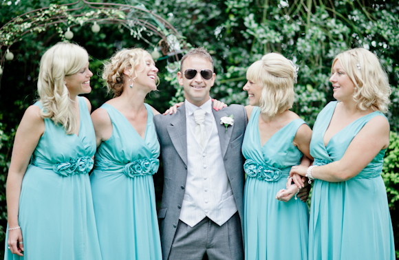 mark pugh photography, groom, bridesmaids with white bouquets, bridesmaids in teatro dress in mint from Very