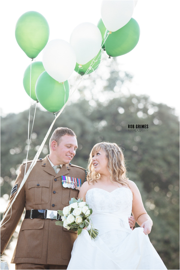 oxwich bay, military,  bride and groom, green balloons,