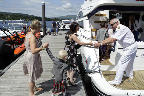 loch lomond yacht, the beaujangles, wedding transport, silver photography