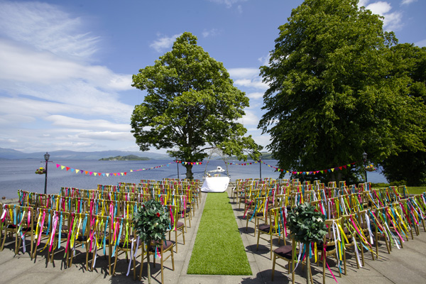 outdoor ceremony, ribbons on chairs, silver photography