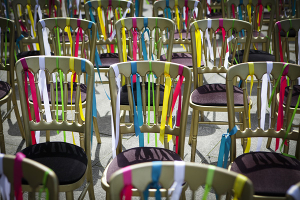 colourful ribbon chair ties, silver photography