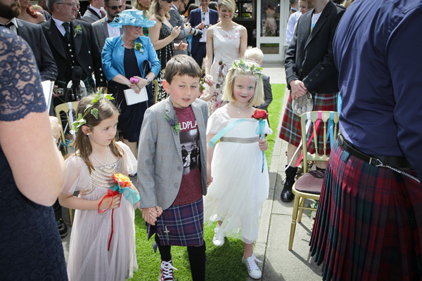 page boy and flower girls, outdoor ceremony, loch lomond, the cruin, silver photography