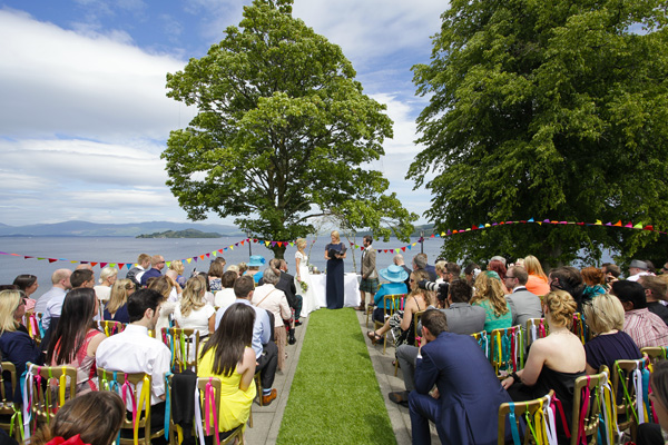 outdoor wedding ceremony, the cruin, loch lomond, silver photography
