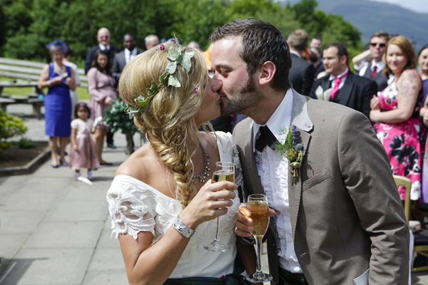 bride and groom kiss, silver photography