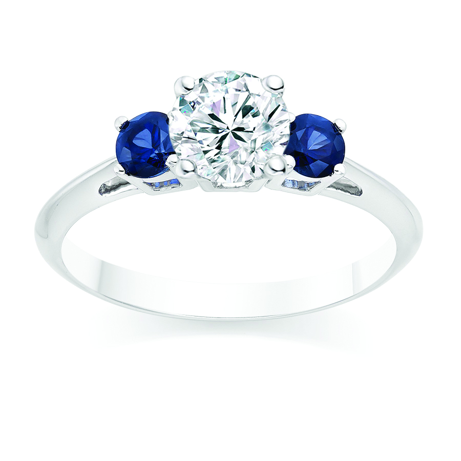 Round Cut 0.45 Carat Blue Sapphire Side Stone Engagement Ring in 18k White Gold