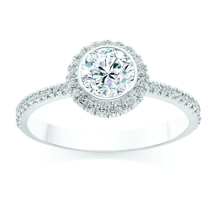 Round Cut 0 75 Carat Halo Engagement Ring With Side Stones In 18k White Gold Diamond